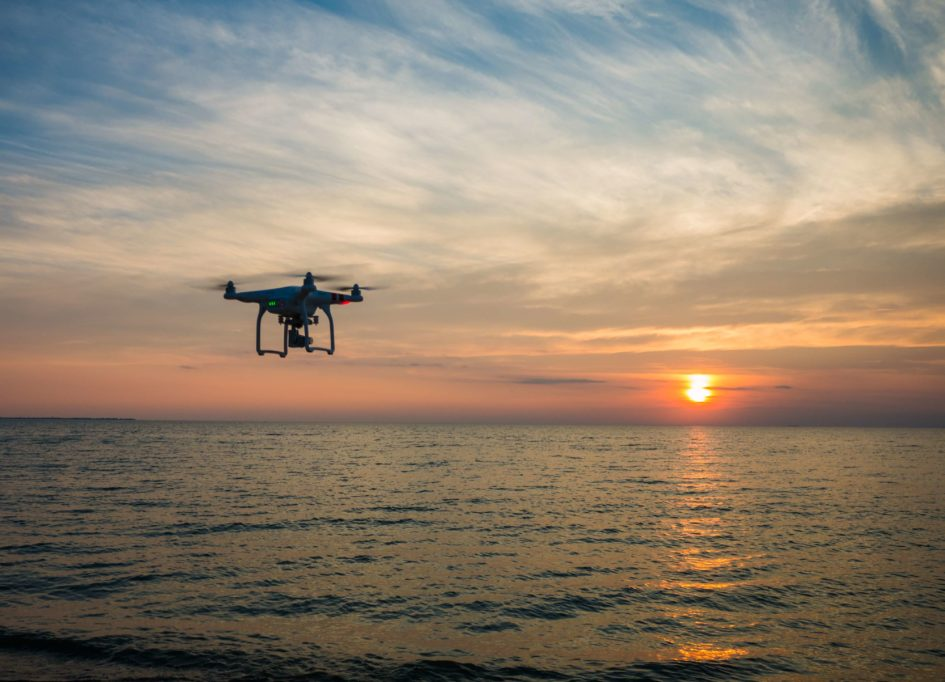 drone above the ocean